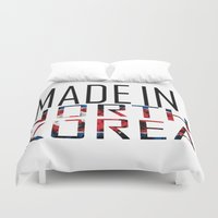 korea Duvet Covers featuring Made In North Korea by VirgoSpice