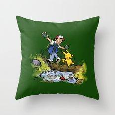 Ash & PlKACHU Throw Pillow