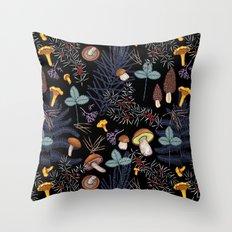 dark wild forest mushrooms Throw Pillow