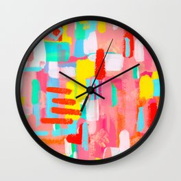 Those Crucial Three Words colorful abstract expressionism painting modern contemporary art whimsical Wall Clock