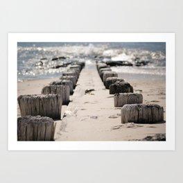 Jetty on the Beach Art Print