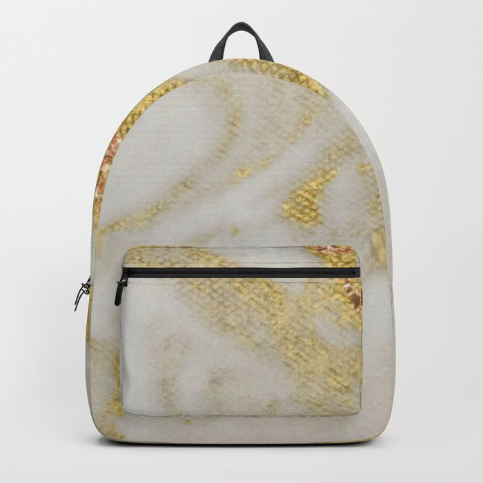 Marble - Swirled Shimmer Gold Marble Yellow on White Marble Backpack