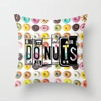 donuts Throw Pillows featuring DONUTS by Vertigo