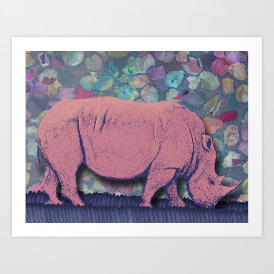 Pink Rhinoceros Collage Art Print