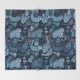 Arctic animals. Polar bear, narwhal, seal, fox, puffin, whale Throw Blanket