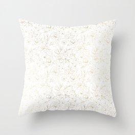 Elegant simple modern faux gold white floral Throw Pillow