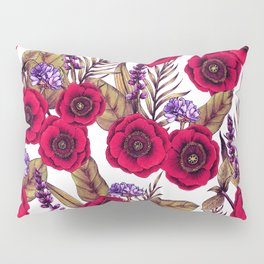 Red Poppies & Purple Flowers - Floral/Botanical Print Pillow Sham
