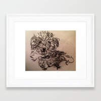 poodle Framed Art Prints featuring poodle by The Traveling Catburys