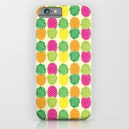 Pineapple Pop Pattern | Pop Art Pineapples | Colorful Pineapple Pattern | Pineapple Silhouettes | iPhone Case