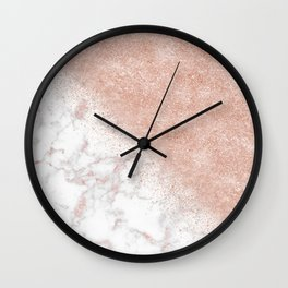 Elegant faux rose gold confetti white marble image Wall Clock