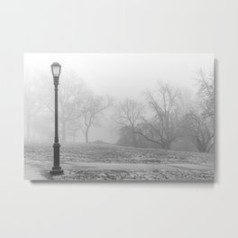 Lamp Post in the fog Metal Print
