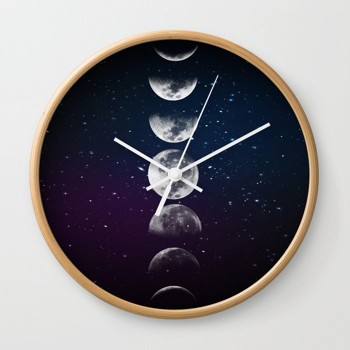 Phases Of The Moon Wall Clock By Ladyviolet Society6