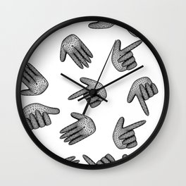 seamless pattern hand signs isolated on white background Wall Clock