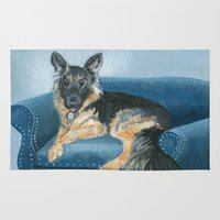german shepherd Area & Throw Rugs featuring German Shepherd Angus by Yvonne Carter