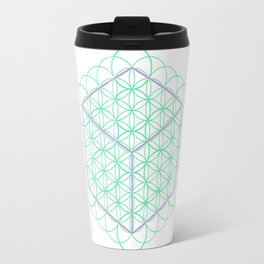 Sacred Geometry - glowing energy lines - cube and flowers Travel Mug