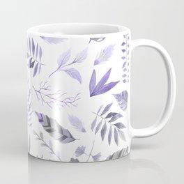 Modern hand painted purple violet watercolor leaves Coffee Mug