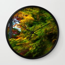 Fall Color Yard Full of Tree Branches Wall Clock