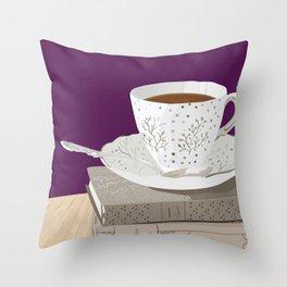 Teacup, Jane Austen, & Charlotte Brontë Books Throw Pillow