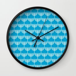 Hanukkah Pattern in White and Light Blue Wall Clock