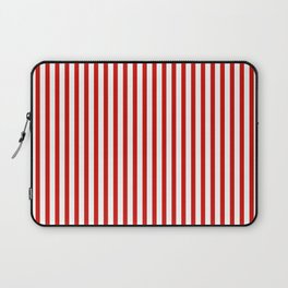 Red & White Maritime Vertical Small Stripes - Mix & Match with Simplicity of Life Laptop Sleeve