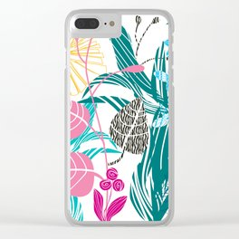 Stylized leaves and flowers Clear iPhone Case