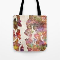 seattle Tote Bags featuring Seattle by MapMapMaps.Watercolors