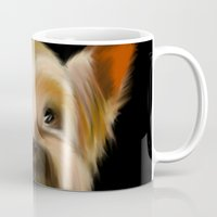 yorkie Mugs featuring Yorkie on Black by barefoot art online