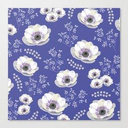 Anemones IV: blue pattern Canvas Print