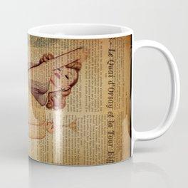 vintage newspaper print paris eiffel tower pin up girl Coffee Mug