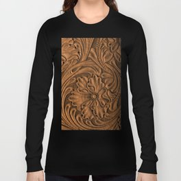 Golden Tanned Tooled Leather Long Sleeve T-shirt