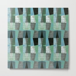 Perspective Compilation with Wood Grain and Teal Metal Print