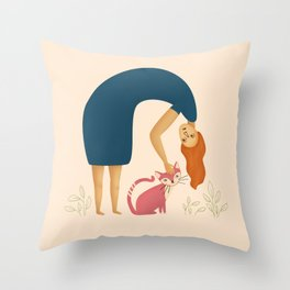 Red hair laidy petting a cat | Illustration Throw Pillow