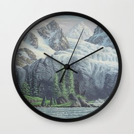 HIDDEN TOWER IN THE INLAND PASSAGE VINTAGE OIL PAINTING Wall Clock
