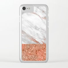 Luxury and glamorous pink glitter and white marble Clear iPhone Case