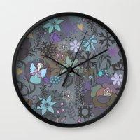 Colorful grey xmas pattern Wall Clock
