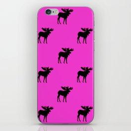 Bull Moose Silhouette - Black on Pink iPhone Skin