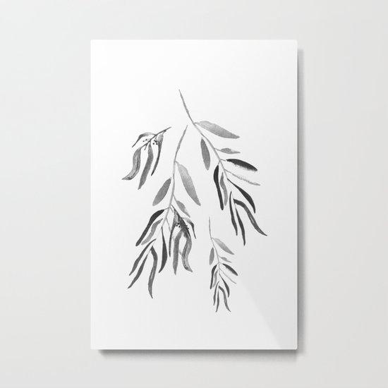 Eucalyptus Branches II Black And White Metal Print