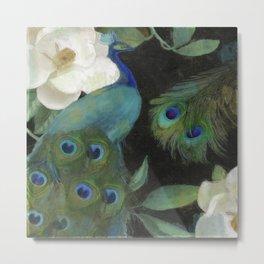 Peacock and Magnolia III Metal Print