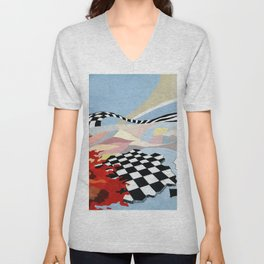 """Abstract composition """"space and time"""". Unisex V-Neck"""