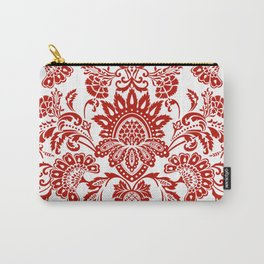 Damask in red Carry-All Pouch