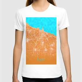 Bari, Italy, Gold, Blue, City, Map T-shirt
