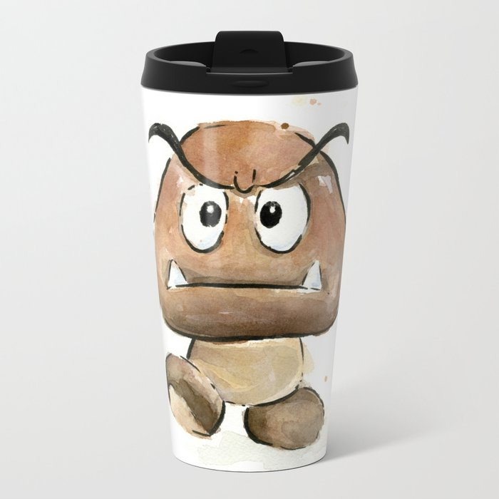 Goomba Watercolor Painting Mario Gamer Videogame Art Metal Travel Mug