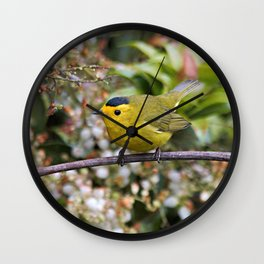 Cute Wilson's Warbler on the Grapevine Wall Clock
