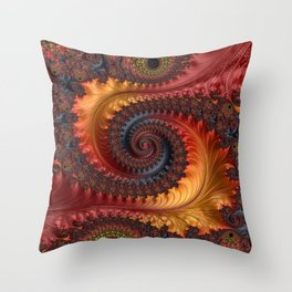 Feathery Flow - Red Fractal Art Throw Pillow
