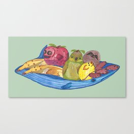 Fruit Bowl Animals Canvas Print