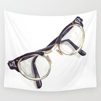 glasses Wall Tapestries featuring Vintage glasses by Bridget Davidson