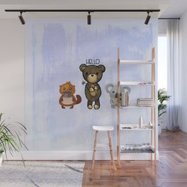 Bear Platypus and Koala Illustration on Purple Wall Mural