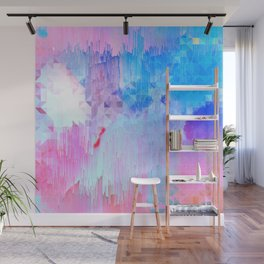 Abstract Candy Glitch - Pink, Blue and Ultra violet #abstractart #glitch Wall Mural