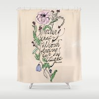 oscar wilde Shower Curtains featuring Oscar Wilde Quote  by TLG Creative