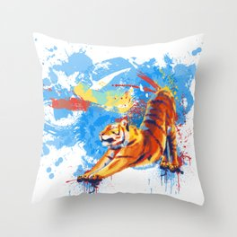 Stretching Tiger Throw Pillow